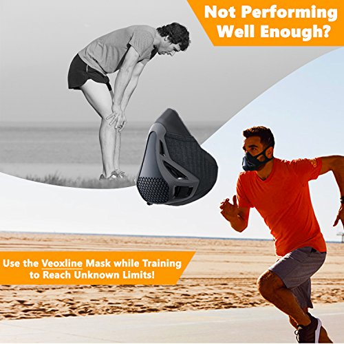 VEOXLINE Training Mask   Sport Workout for Running Biking Fitness Jogging Cardio Endurance Exercise Breathing with Air Flow Level Regulator for Men Women   Simulate High Altitude Elevation Effects