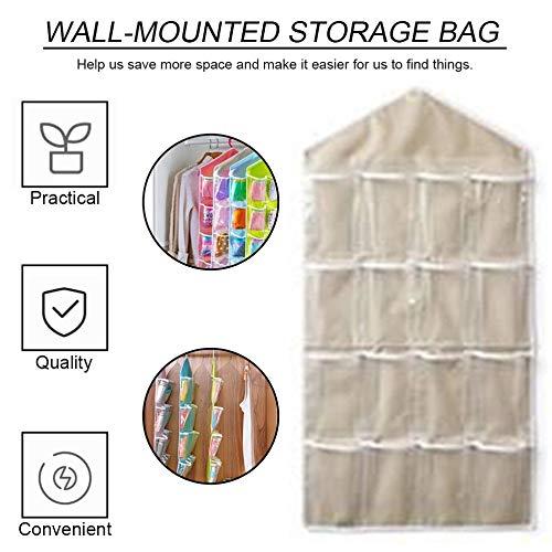 16 bolsillos transparentes sobre la puerta Colgador de bolsas Colgador Organizador ordenado para el ba/ño en el hogar Sala de estar Miscel/áneas del hogar Beige