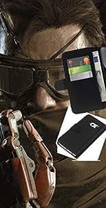 LECELL--Cuero de la tarjeta la carpeta del tirón Smartphone Slots Protección Holder For Samsung Galaxy S6 EDGE -- Solid Snake --