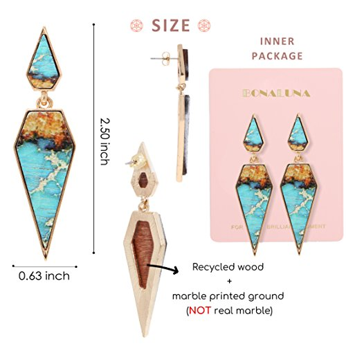 Bohemian Wood And Marble Effect Pentagon Shaped Drop Statement Earrings by BONALUNA (Image #3)