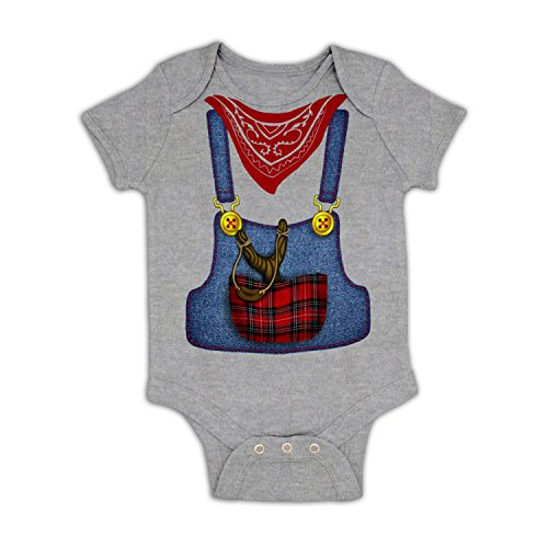 [Hillbilly Costume Baby Grow - Athletic Heather 3-6 Months] (Farmers Dress Up Costumes)