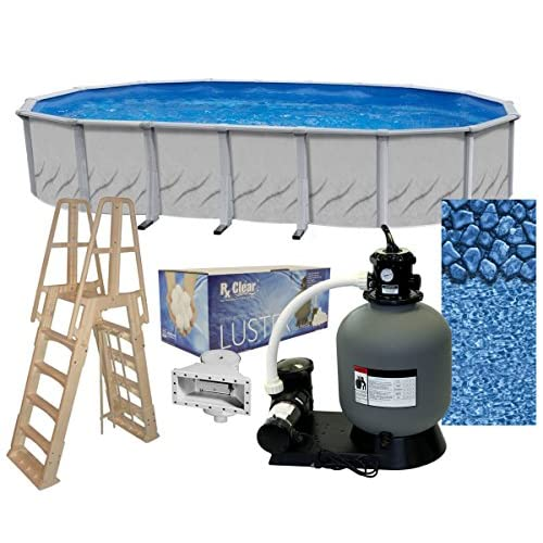 Galeria 12-Foot-by-24-Foot Oval Above-Ground Swimming Pool | 52-Inch Height | Steel-Sided Walls | Bundle Kit | Boulder Swirl Liner | A-Frame Ladder | Filter Tank | 0.75-HP Pump | Wide-Mouth Skimmer
