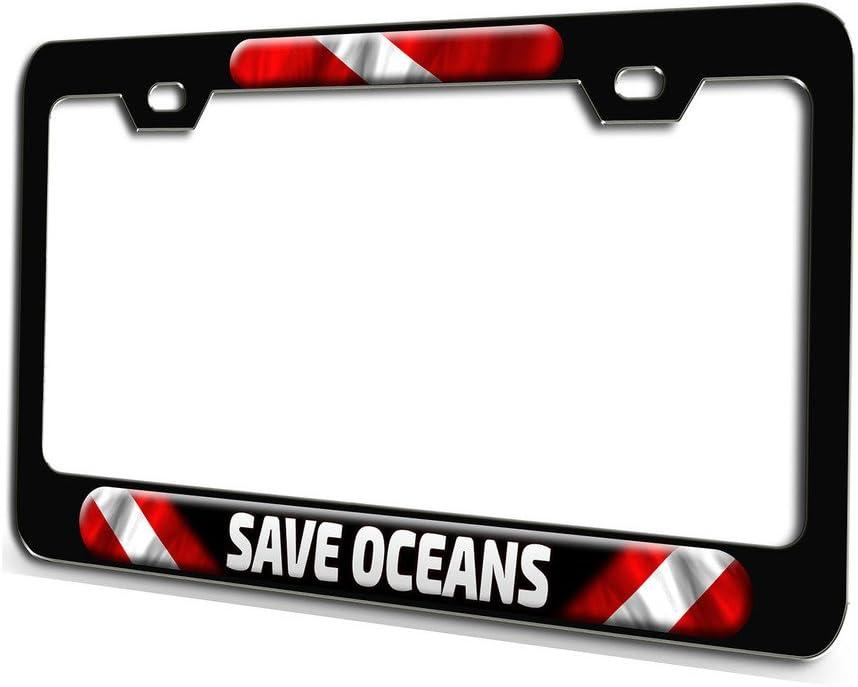 Scuba Flag License Plate Frame Gifts Polished Metal Female Lady Diver Diving TXT