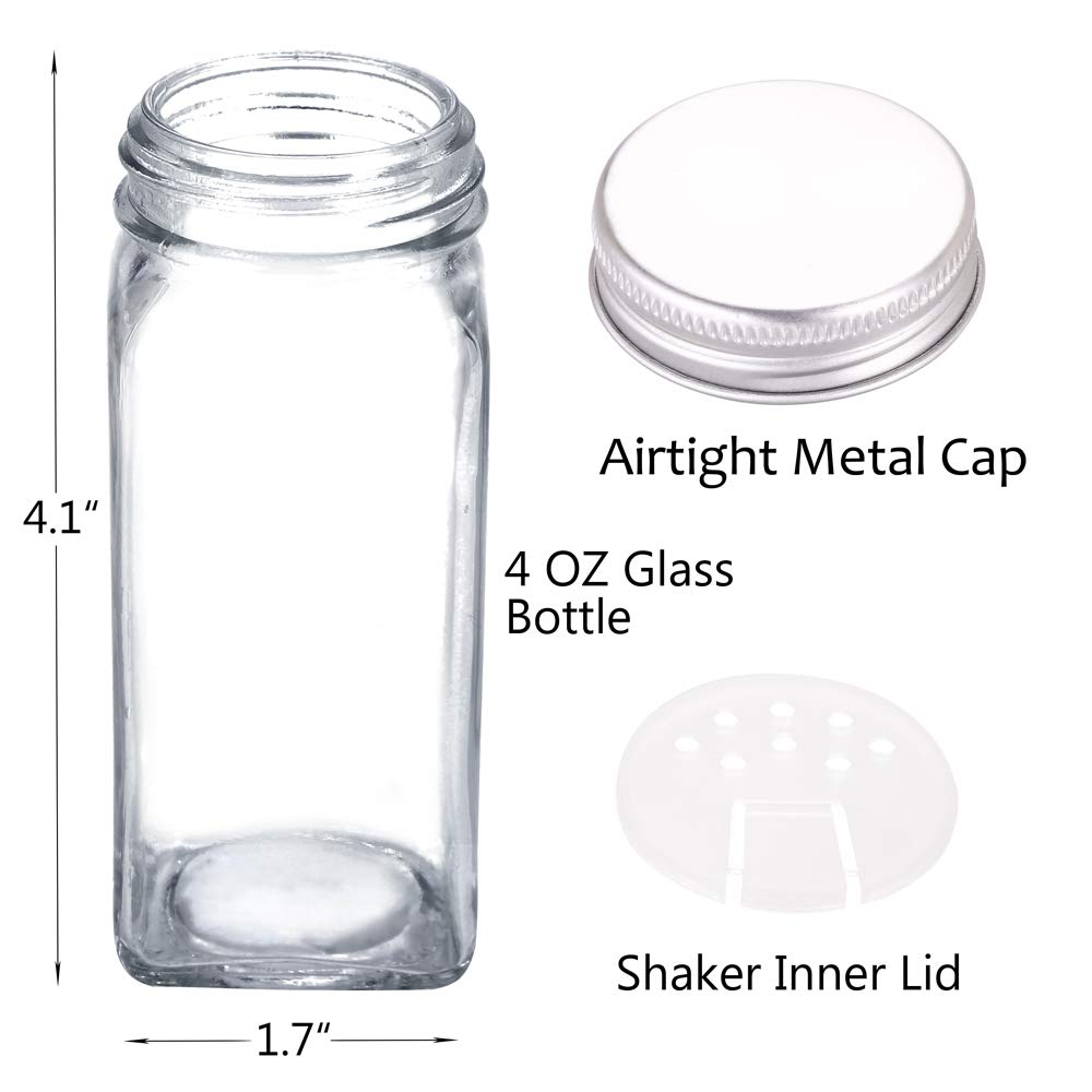 36 Glass Spice Jars with 360 Spice Jar Labels and Funnel Complete Set by SWOMOLY. 36 Square Glass Jars 4OZ, Airtight Cap, Pour/sift Shaker Lid by SWOMMOLY (Image #5)
