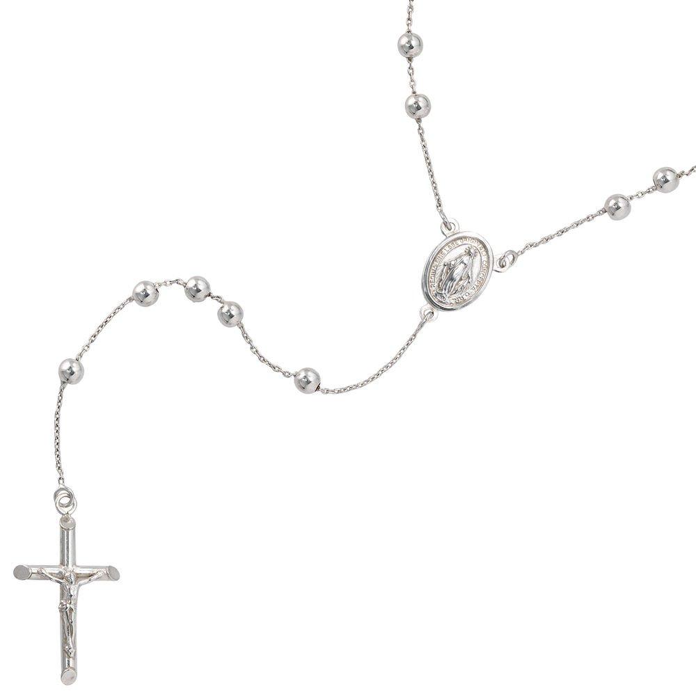 Unisex Rosenkranz Kette Amulett Kreuz mit Jesus 925 Silber Damen Herren 60cm