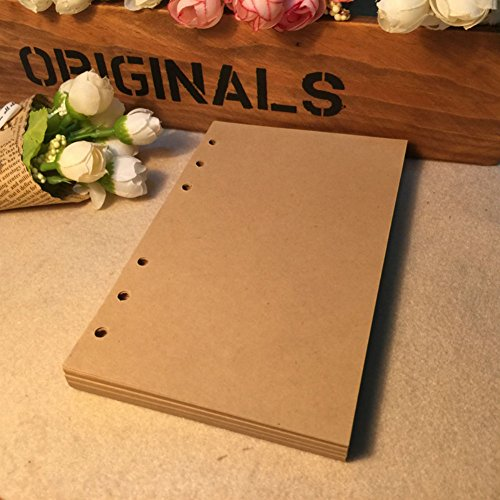 ZE 80 Sheets 6-Holes Traveler's Notebook Planner Filler Papers / Journal Diary Inserts Refill Kraft Paper/ Loose-leaf Binder Paper, Brown Color (A5 (8