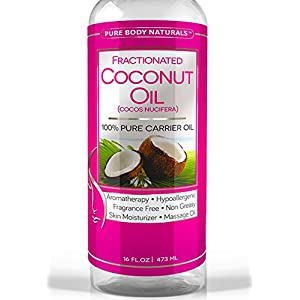 Fractionated Coconut Oil 16 Oz - 100% Pure & Natural - Use with Essential Oils as a Carrier and Base oil - Best Aromatherapy Carrier Oil with Numerous Hair & Skin Benefits - Use for Therapeutic Recipes - Safe Moisturizer & Softener - Add to Roll-On Bottles for Easy Application - Use as a Sensual Massage Oil - Satisfaction Guarantee