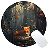 fox mouse pad - Wknoon Round Mouse Pad Custom Pattern Fox Deep in the Forest Painting Art Mat