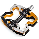 INBIKE Bicycle Pedal, Alloy Body Three Sealed Bearing Cycling MTB Pedals Gold