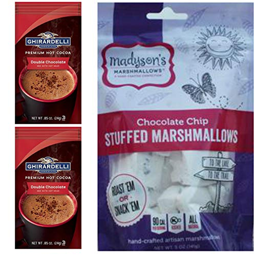 Ghirardelli Hot Cocoa Gift Pack. One Madysons Chocolate Chip Gourmet Marshmallows Bag and 2 Ghirardelli Hot Chocolate Individually Sealed Mix Packets. Perfect for the Marshmallow Gourmet in Your Life.