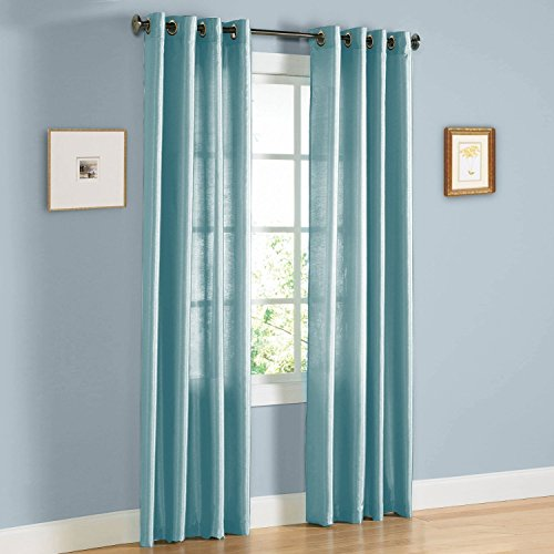 Colors And Sizes 1 Faux Silk Window Curtain Panel Width 55 X 638495108 Length Solid Includes 8 Bronze Grommets 63 Light Blue