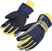 AMYIPO Kids Winter Snow Ski Gloves Children Snowboard Gloves for Boys Girls (Blue, M)