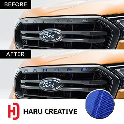 Haru Creative - Front Hood Grille Letter Insert Overlay Vinyl Decal Sticker Compatible with and Fits Ford Ranger 2019-5D Gloss Carbon Fiber Blue