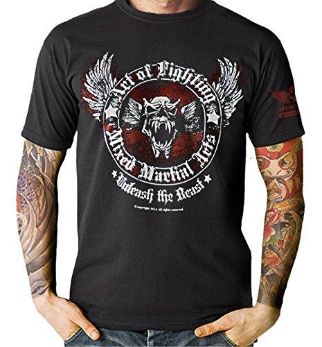 MMA Muay Thai Kick Boxing Unleash the Beast Black T-shirt (M)