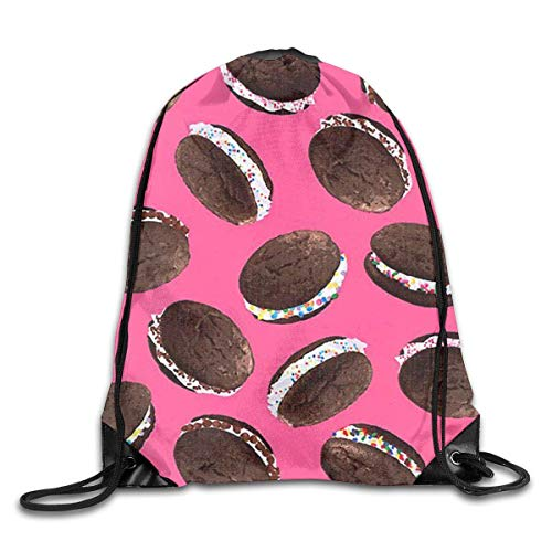 Personalized Printed Sports Leisure Shoulder Bundle Backpack Ice Cream Moon Pie Portable Drawstring Beam Bag For Gym/Library/Playground/Classroom/Office -