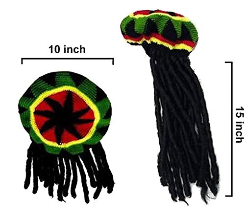 Brand New Rasta Reggae Knitted Beannie Hat with Long Dread Locked Hair