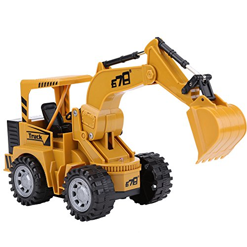 RC 1:24 5チャンネル ショベル トラクター 掘削機 多機能 フラッシュ リモートコントロール 工事トラック 玩具  グラップル仕様 USB充電 砂場 建設車両 モデル 子供 玩具