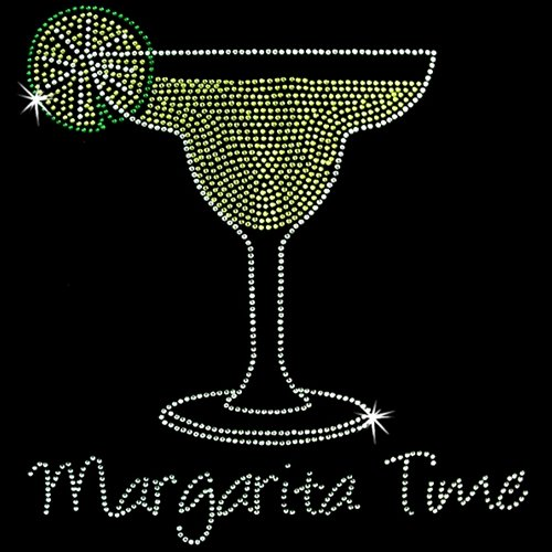 Iron on Hot Fix Rhinestone Motif Margarita Time - Hot Fix Rhinestone Motif Iron