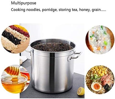 MKXF Grande Casserole en Acier Inoxydable avec Couvercle en Acier Inoxydable, Acier Inoxydable 304 de qualité Alimentaire