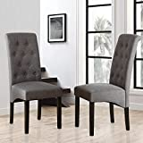 Set of 2 Dining Chairs Tufted Upholstered Dining Room Chair with Sturdy Wooden Legs (Grey)