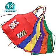Kuuqa 12 Pack 6 Colour Two Pocket Kids Children's Artist Aprons Art Smock for Kitchen or…