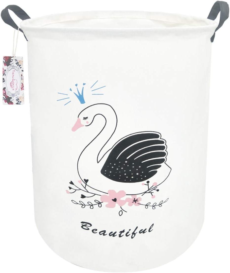 "TIBAOLOVER 19.7"" Large Sized Waterproof Foldable Canvas Laundry Hamper Bucket with Handles for Storage Bin,Kids Room,Home Organizer,Nursery Storage,Baby Hamper (Swan Prince)"