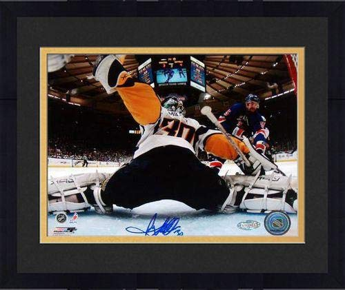 (Framed Ryan Miller Goal Cam Kick Save vs. Rangers Signed 8x10 Photo - Steiner Sports Certified - Autographed NHL Photos)
