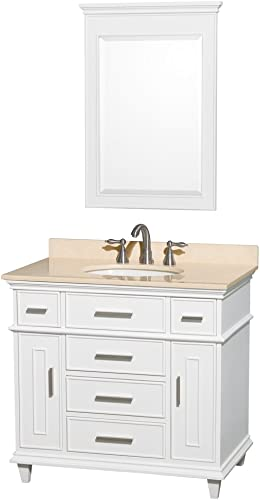Wyndham Collection Berkeley 36 inch Single Bathroom Vanity in White with Ivory Marble Top with White Undermount Oval Sink and 24 inch Mirror