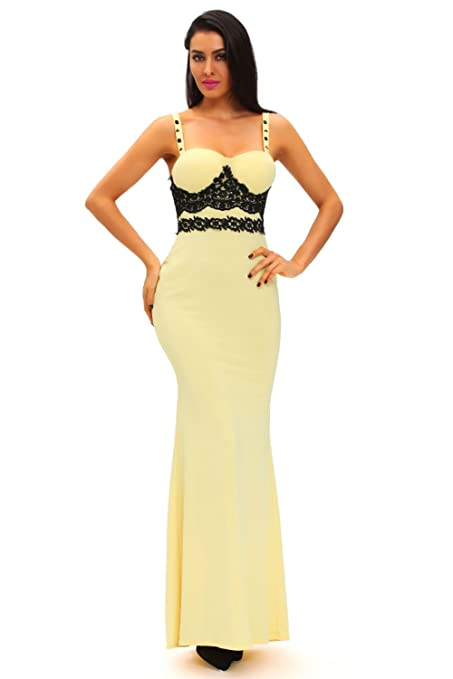 Elegant Ladies Yellow & Black Lace Evening Cocktail Prom Dress Party Dance Club Wear Size M