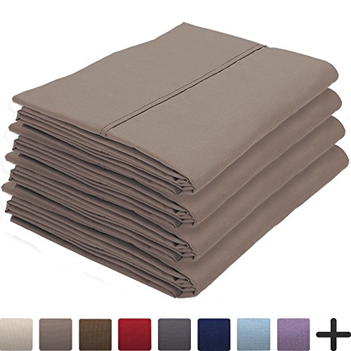 4 Pillowcases - Premium 1800 Ultra-Soft Collection - Bulk Pack - Double Brushed - Hypoallergenic - Wrinkle Resistant - Easy Care (King - 4 Pack, Taupe)