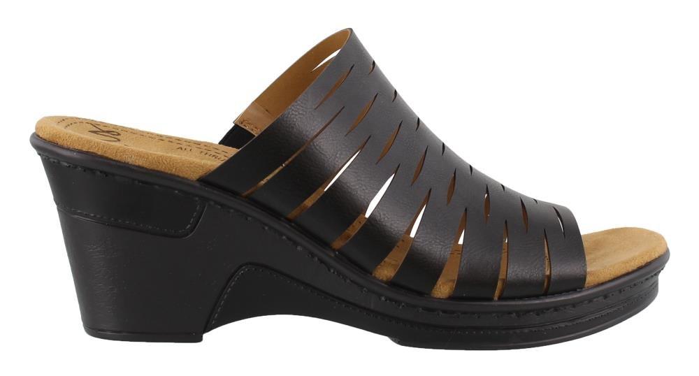 NATURAL SOUL Women's, Reina Wedge Sandals Black 7.5 M