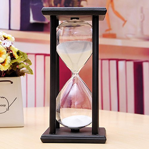 Large Hourglass (30/60 Minutes Colorful Sand Hourglass Timer Time Retro Ornaments Creative Gift (black frame white sand, 60 minutes))