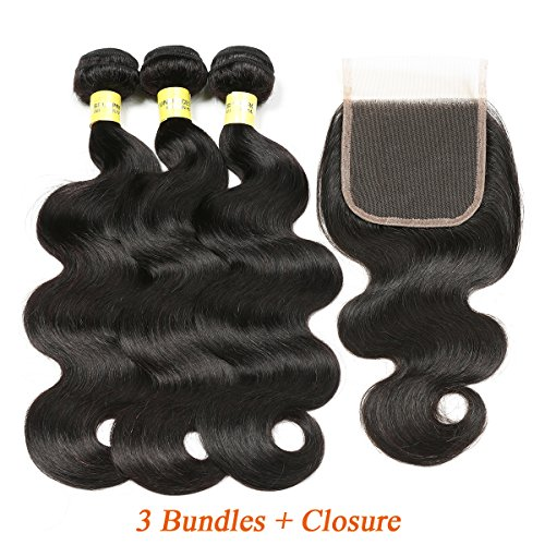 Mureen Brazilian Hair 3 Bundles with Closure Body Wave 4×4 Virgin Hair Lace Closure with Bundles Unprocessed Human Hair Extensions Weave Weft With Closure Natural Color (16 18 20 + 14, Free Part)