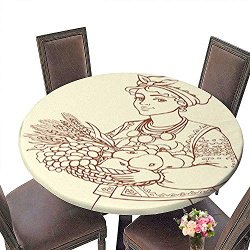 Round Table in Washable Polyeste Beautiful Girl in Ukrainian Costume with Basket of Autumn Fruits Banquet Wedding Party Restaurant Tablecloth up to 39.5