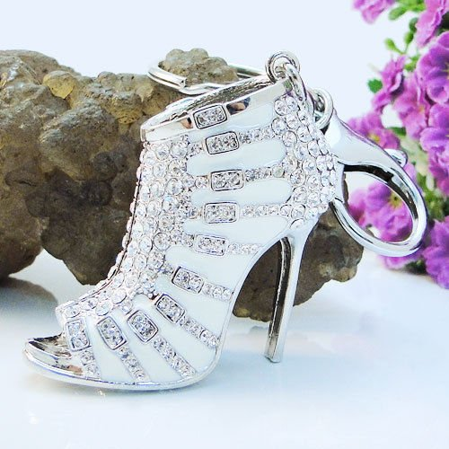 Crystal Rhinestone Diamante High Heel Shoe Decoration Chain for Phone Car Bag Key Ring keychain Charm Gift - Perfect for Women Ladies Girls' Phone Key Bag (White)