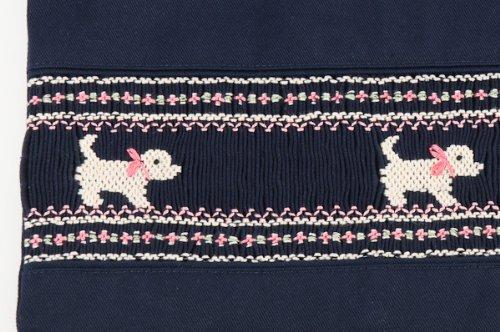 5abb46cce333a 手刺繍スモッキング  プードル・ピンク 紺色布製:レッスンバッグ お ...