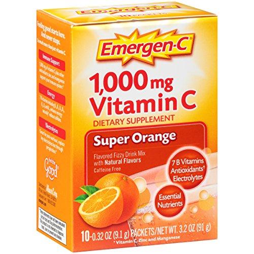 Emergen-C (10 Count, Super Orange Flavor) Dietary Supplement Fizzy Drink Mix with 1000mg Vitamin C, 0.32 Ounce Packets, Caffeine Free