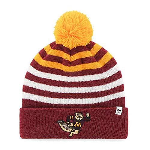 ('47 Youth Minnesota Golden Gophers Cuff Yipes Beanie Hat with POM POM - NCAA Kid's Cuffed Winter Knit Toque Cap)