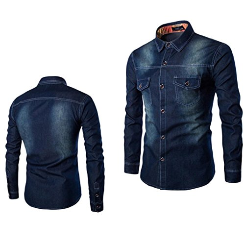 Usstore  T-Shirts for Men's Collar Denim Blouse Top Casual Shirts (Dark Blue, L=US Size S)