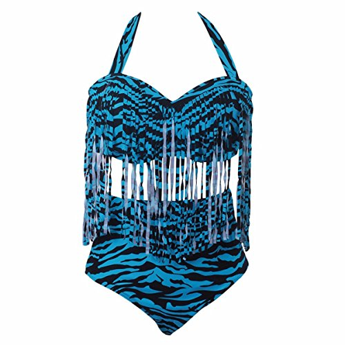 Samtree Two Piece Swimsuits for Women,High Waist Plus Size Bathing Suits Fringe Bikini (XXXL fit US 18,Blue Zebra)
