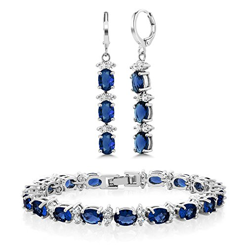 Gem Stone King 7inches Blue & White CZ Bracelet Set With Matching 2inches Oval Dangle - Bracelet Dangles Oval