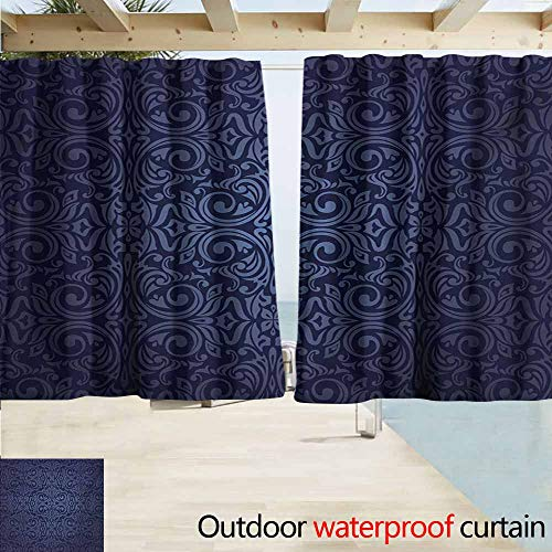 Wlkecgi Indigo Curtains for Living Room Victorian Vintage Ancient Royal Times Inspired Floral Leaves Swirls Image Artprint Perfect for Your Patio, Porch, Gazebo, or Pergola W63 xL72 Dark Blue