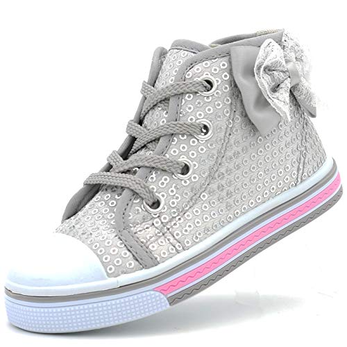 Canvas Sneakers Shoes for Toddler Girls Infant Baby Strap Soft Comfortable Easy Walk (9 M US T, Silver-2)