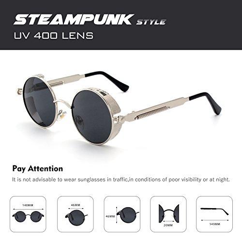 inspirées en soleil pour du métallique rond style cercle CGID polarisées de Gris A2 hommes Steampunk Argenté E72 Lunettes retro Xwvq4nR1
