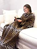 KC Caps Deluxe Fleece Blanket with Sleeves and Pockets, Super Soft Stylish Microplush Home Sofa Wearable Throw Robe for Women and Men, Cheetah