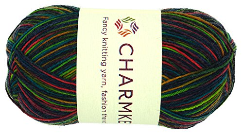 Charmkey Painted Sock Yarn Baby Soft Thin 2 Fine Colorful Prints Wool Ease Blended 5 Ply Superwash Acrylic Self Striping Thread for Stocking Glove Hat, 1 Skein, 3.53 Ounce (Romantic Cocktail)