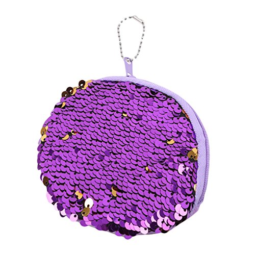 (Rurah Portable Mermaid Sequin Coin Purse Mini Glitter Wallet Shiny Clutch Pouch Zip with Key Chain Wallet,purple)