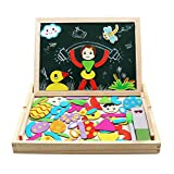 Wooden Toys | Jigsaw Puzzle Board | Wooden Double-sided Magnetic Jigsaw Puzzles | Educational Drawing Blackboard | Intelligence Puzzle Toys for Kids Girls Boys 3 4 5 6 Years Old