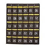 Ozzptuu Canvas 30 Pockets Numbered Classroom Hanging Pocket Charts Wall Mount Cell Phones Storage Organizer Dark Grey