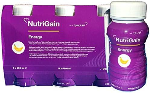 NutriGain Energy Trinknahrung hochkalorisch Banane 1.200 ml Flüssigkeit compact (6 Flaschen a 200ml) trinkfertig mit Strohhalm plus Care-Wert ® Infomaterial!